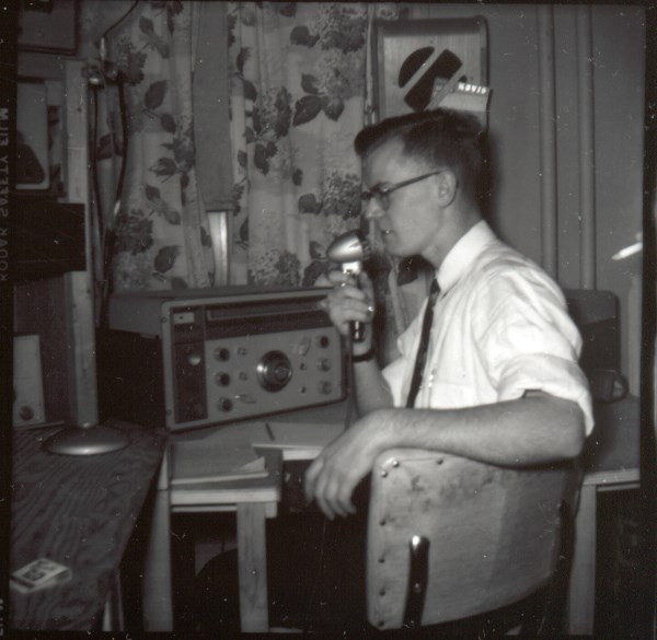 Of course we would never go on the air without a shirt and tie! :-) (Circa 1957.)